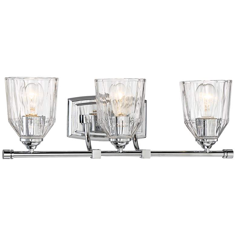 """D'or 23 1/4""""W Chrome and Faceted Glass 3-Light Bath Light"""