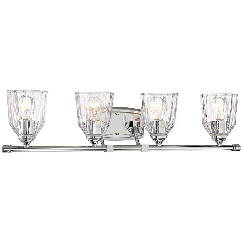 """D'or 33"""" Wide Chrome and Faceted Glass 4-Light Bath Light"""