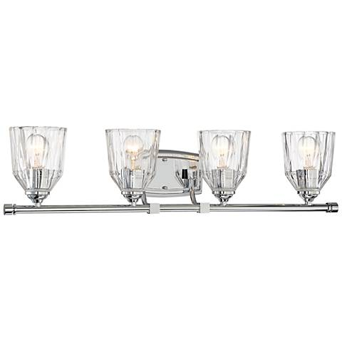 "D'or 33"" Wide Chrome and Faceted Glass 4-Light Bath Light"