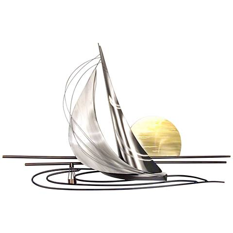 "Sunset Sail 45"" Wide Metal Wall Art"