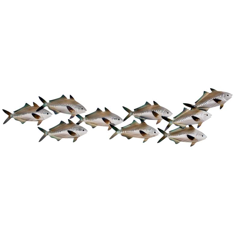 "Sardine School Swimming Right 36"" Wide Metal Wall"
