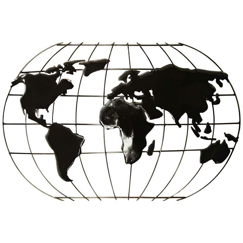 "Openwork Metal Globe 30"" Wide Wall Art"