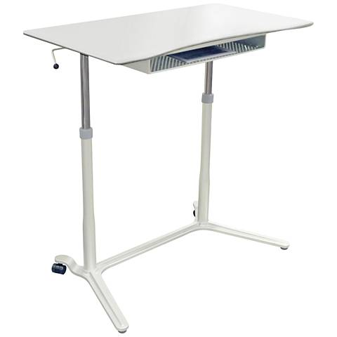 Unique 204 White Height Adjustable Sit Stand Desk