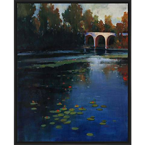 "Bridge Over Water 21"" High Framed Wall Art"