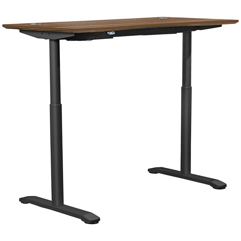 """100 Collection 55"""" Wide Walnut Finish Electric Standing Desk"""