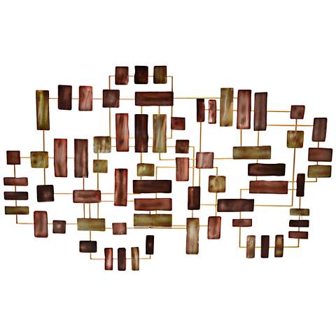 "Abstract Bricks 47 3/4"" Wide Metal Wall Art"