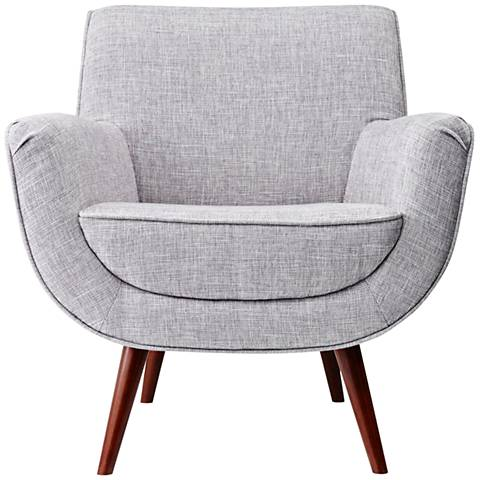 Cormac Light Gray Brushed Steel and Walnut  Armchair