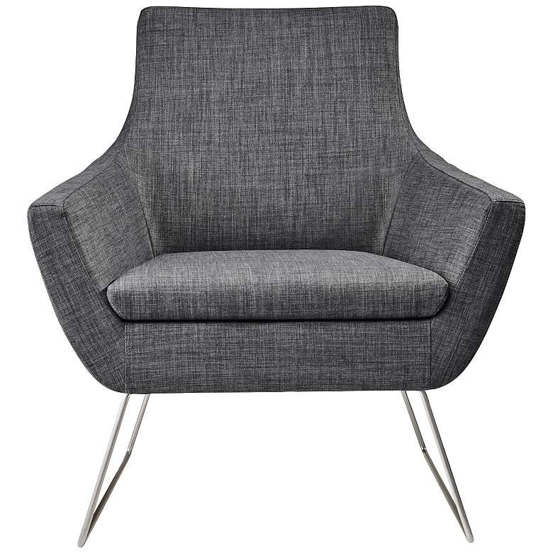 Kendrick Charcoal Gray Brushed Steel Modern Armchair