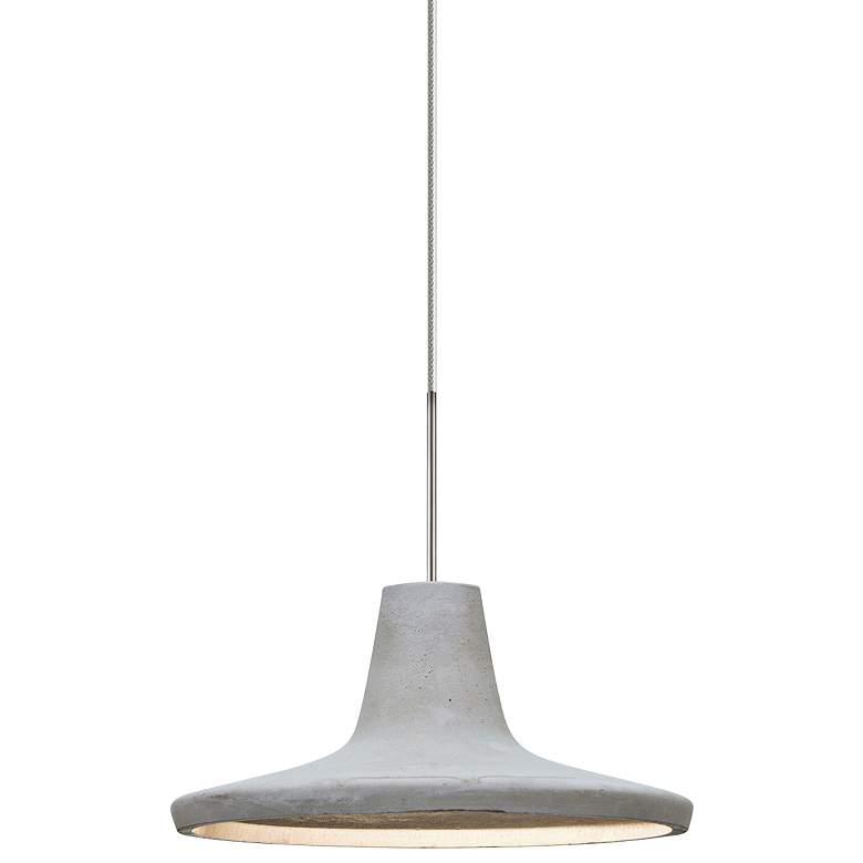 "Modus 9""W Satin Nickel Natural Concrete LED Mini Pendant"