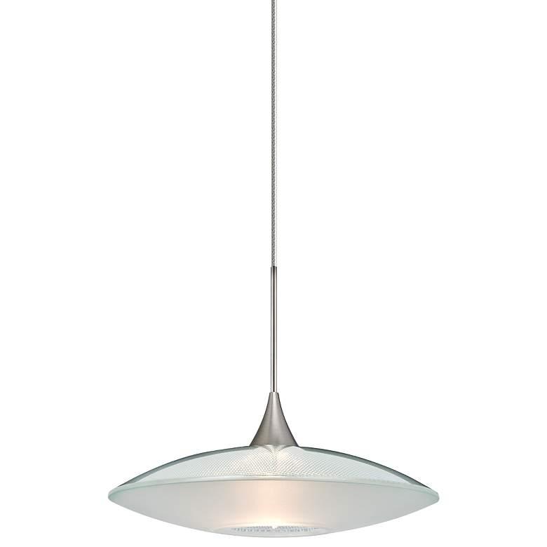 """Spazio 8 3/4""""W Nickel Clear-Frost Glass LED Mini Pendant"""