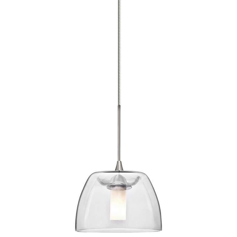 "Spur 5 1/2""W Satin Nickel Clear Glass LED Mini Pendant"