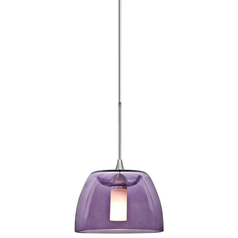 "Spur 5 1/2""W Satin Nickel Purple Glass LED Mini Pendant"