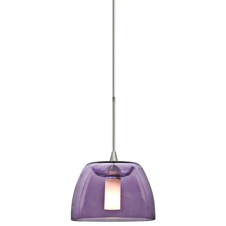 "Spur 5 1/2""W Satin Nickel Purple Glass LED Mini Pendant"