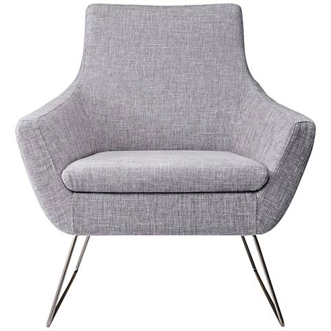 Kendrick Light Gray Brushed Steel Armchair