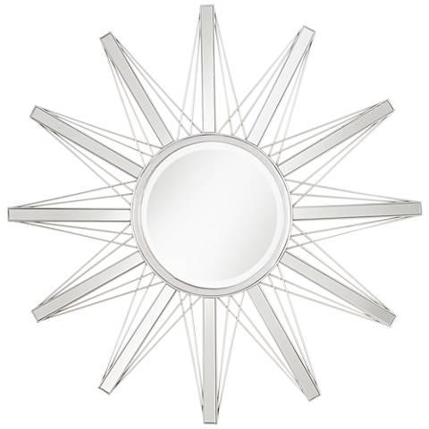"""Mulino Silver Sunburst 36 3/4"""" Wide Accent Wall Mirror"""