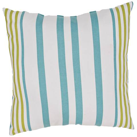"Jaipur Veranda Blue and Green 20"" Square Striped Pillow"