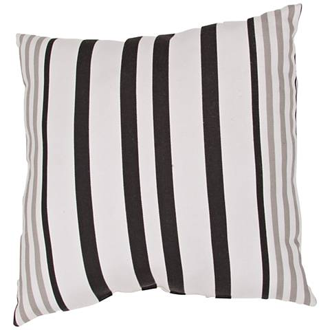 "Jaipur Veranda Black and White 20"" Square Striped Pillow"