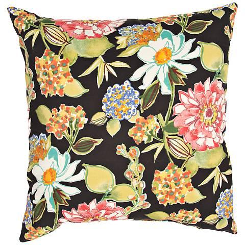 "Jaipur Veranda Black 20""W Multi-Color Floral Throw Pillow"