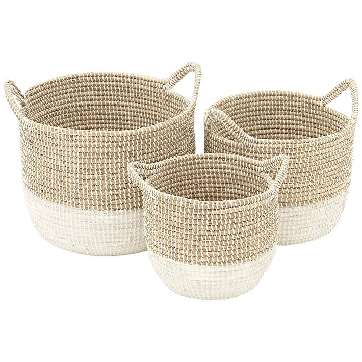 Seagrass Round 3 Piece 2 Tone White Woven Basket Set 9h359 Lamps Plus
