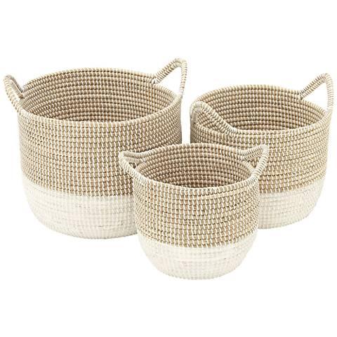 Seagrass Round 3-Piece 2-Tone White Woven Basket Set