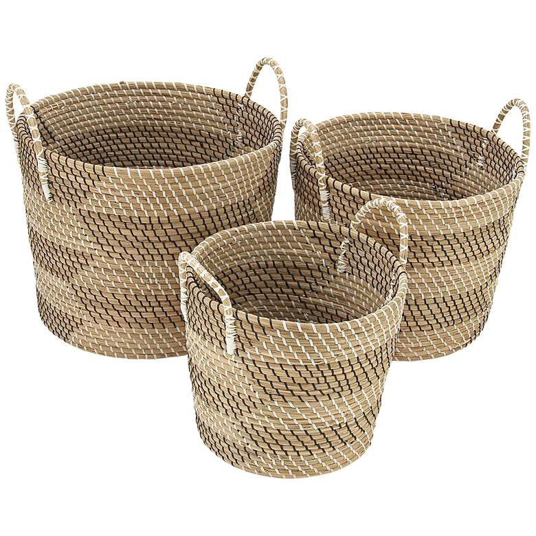 Seagrass Woven Baskets with Handles - Set of 3