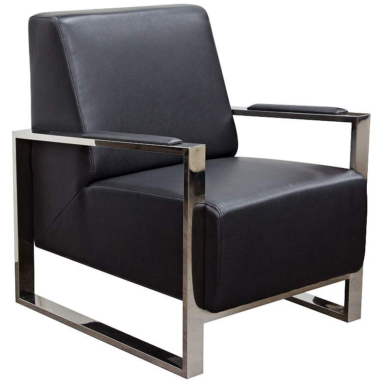 Century Black Bonded Leather Accent Chair