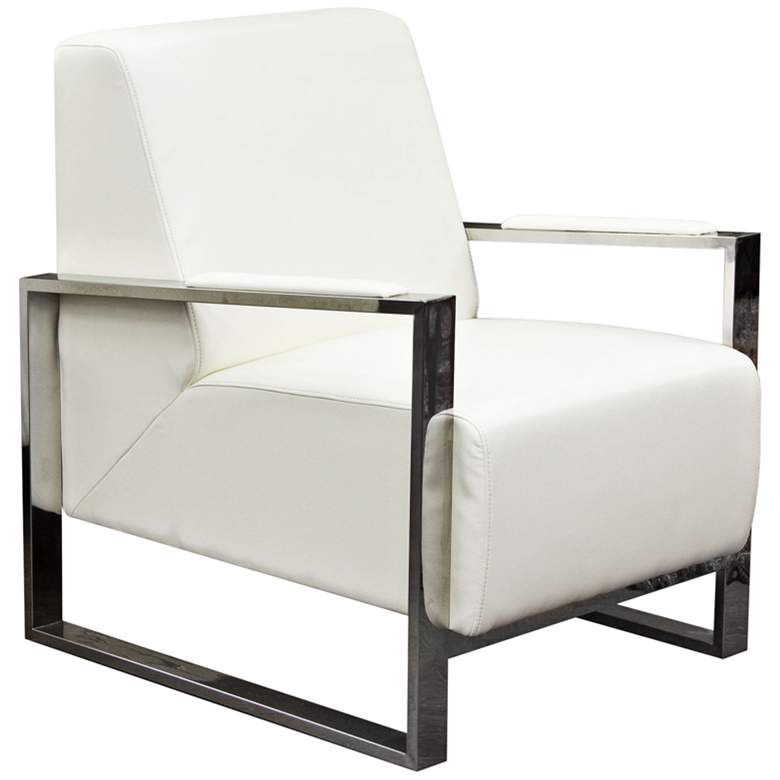 Century White Bonded Leather Accent Chair