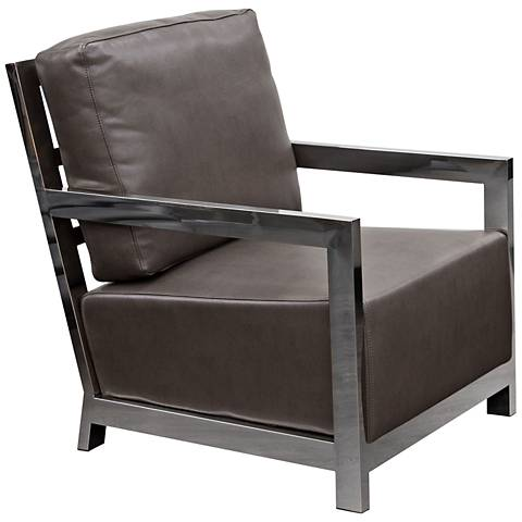 Zen Elephant Gray Bonded Leather Accent Chair