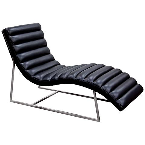 Bardot Black Bonded Leather Chaise Lounge