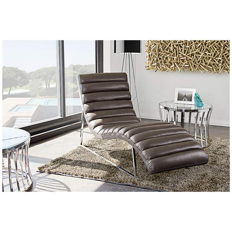 "Bardot 58"" Wide Elephant Gray Modern Chaise Lounge"