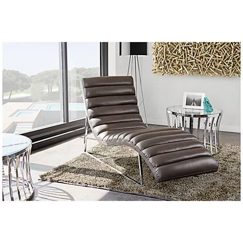 Bardot Elephant Gray Bonded Leather Chaise Lounge