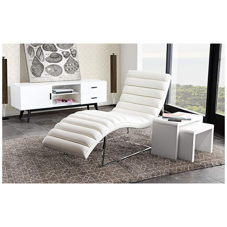 """Bardot 58"""" Wide White Bonded Leather Modern Chaise Lounge"""