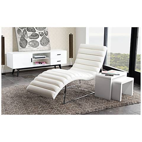 Bardot White Bonded Leather Chaise Lounge