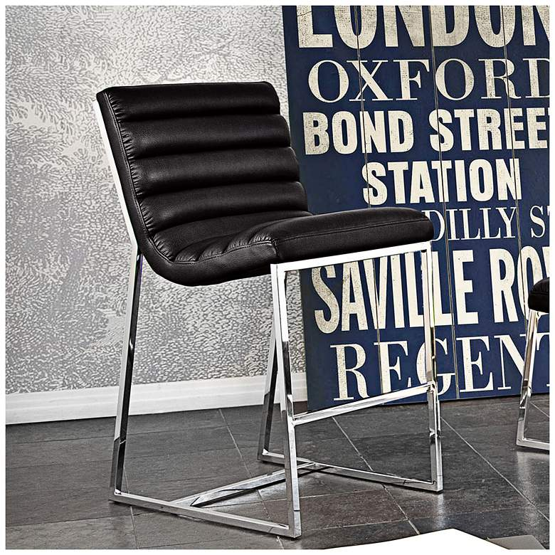 "Bardot 29"" Black Bonded Leather Modern Bar Height Chair"