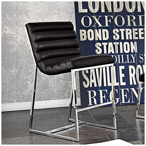 "Bardot 29"" Black Bonded Leather Bar Height Chair"