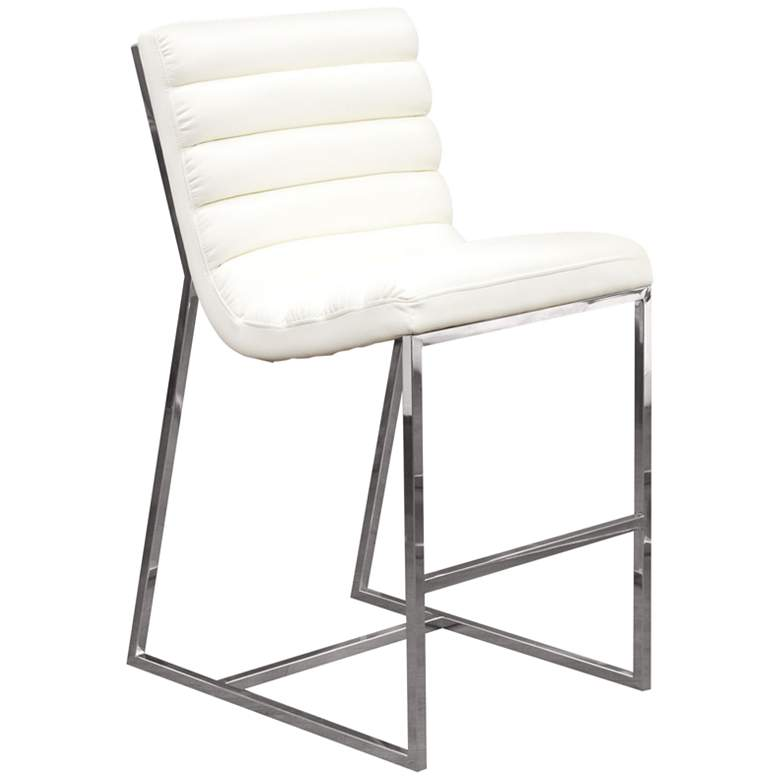 """Bardot 29"""" White Bonded Leather Bar Height Chair"""