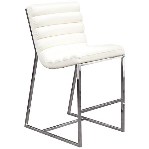 "Bardot 29"" White Bonded Leather Bar Height Chair"