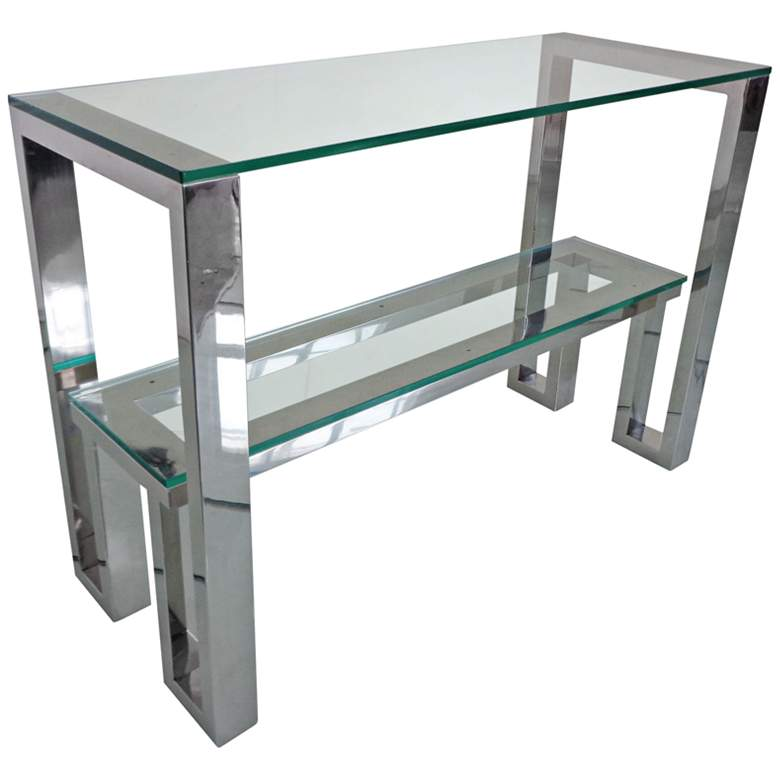 Carlsbad Clear Glass Top Stainless Steel Console Table