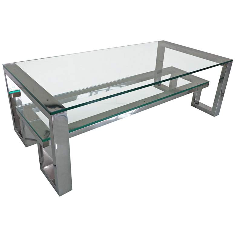 Carlsbad Clear Glass Top Stainless Steel Cocktail Table