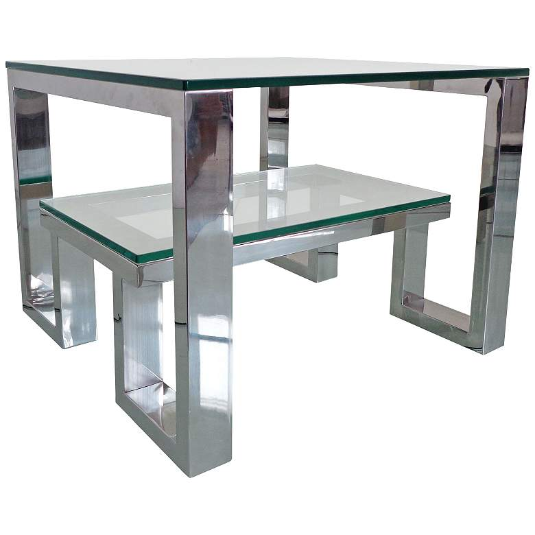 Carlsbad Clear Glass Top Stainless Steel End Table