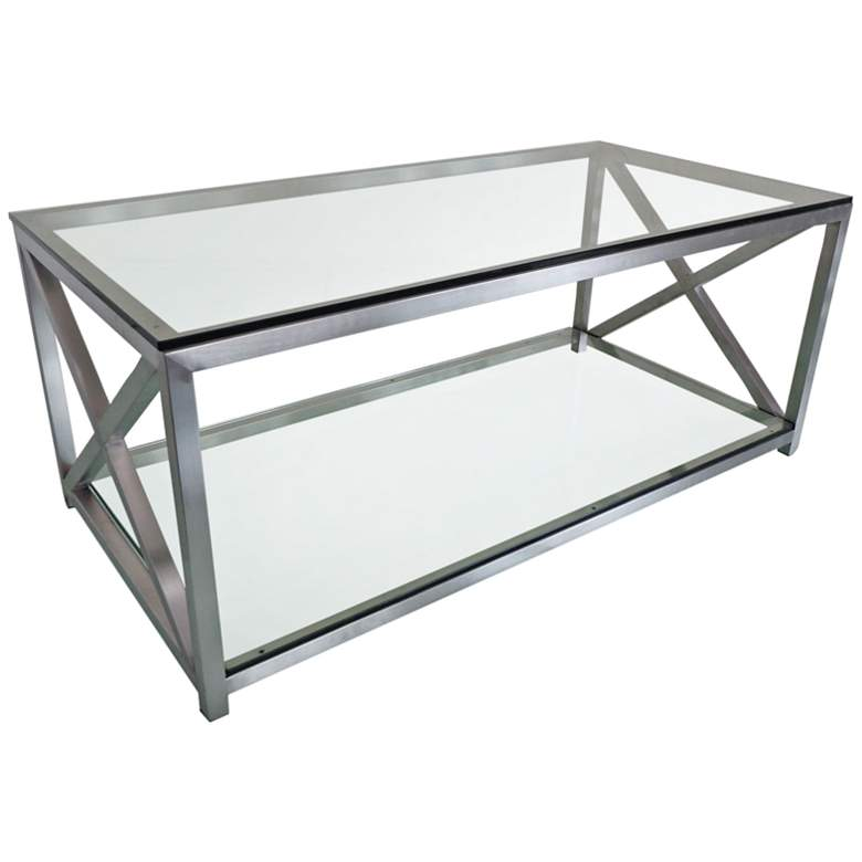 """X-Factor 43"""" Wide Glass and Stainless Steel Cocktail Table"""