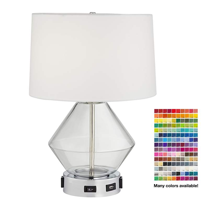 9H539 - Blue Glass Table Lamp with USB Port