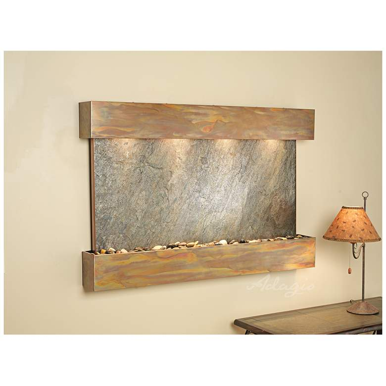 """Sunrise Springs 35""""H Rustic Green Stone Indoor Wall Fountain"""