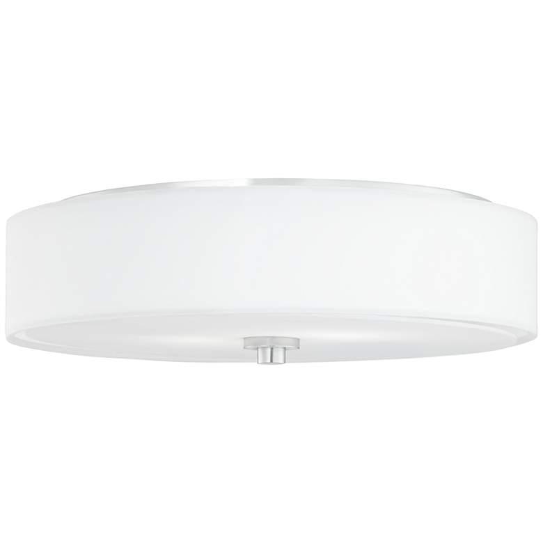 9H555 - White Sandstone Linen Polished Chrome Ceiling Light
