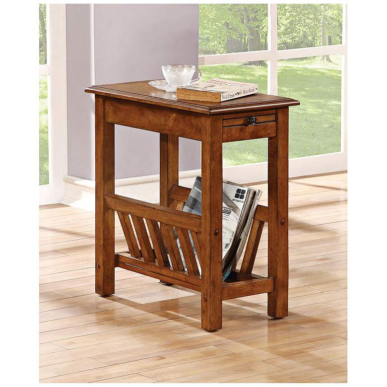 "Jayme 22""W Tobacco Magazine-Rack Pull-Out Tray Side Table"