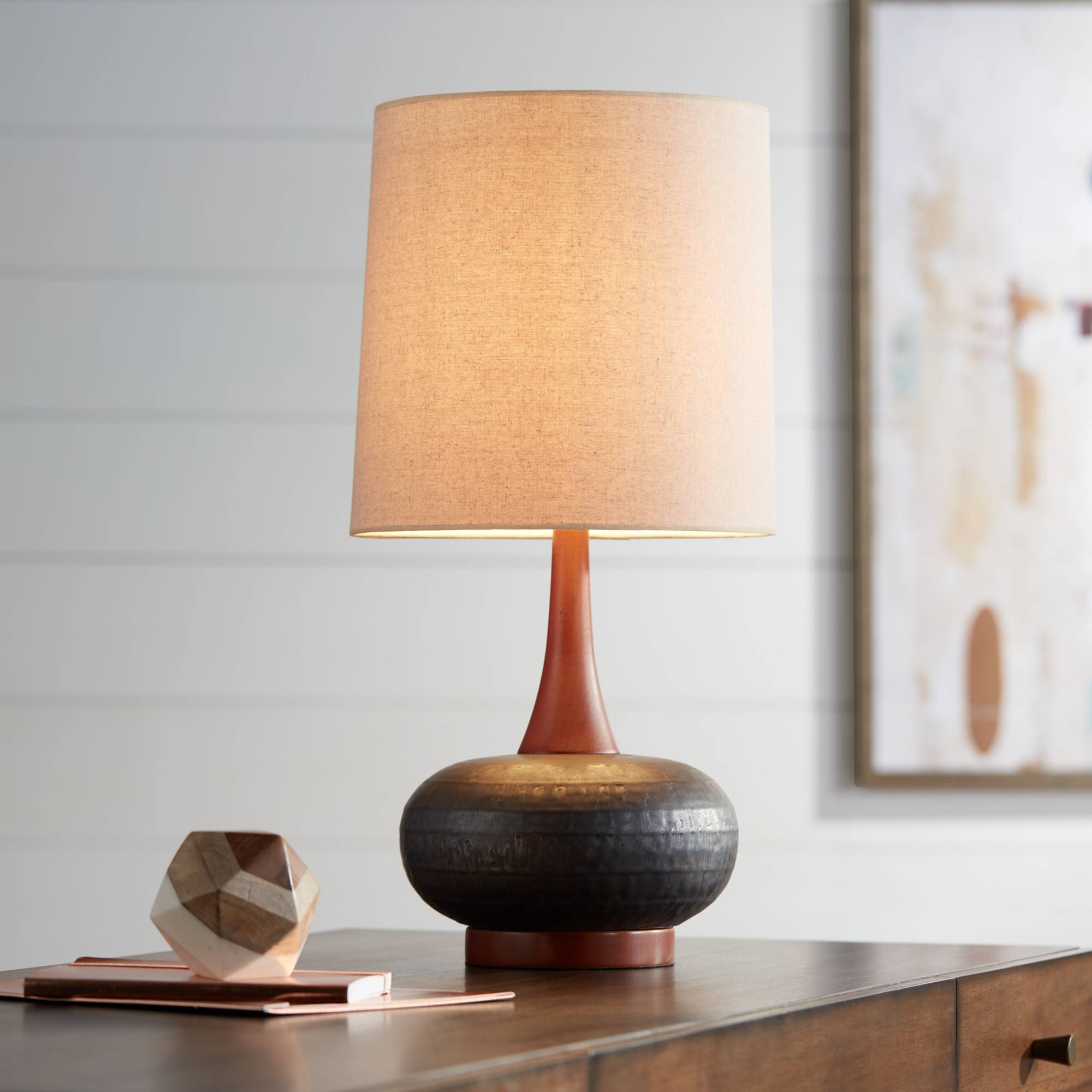 Mid Century Modern Table Lamp Hammered Bronze Wood For Living Room