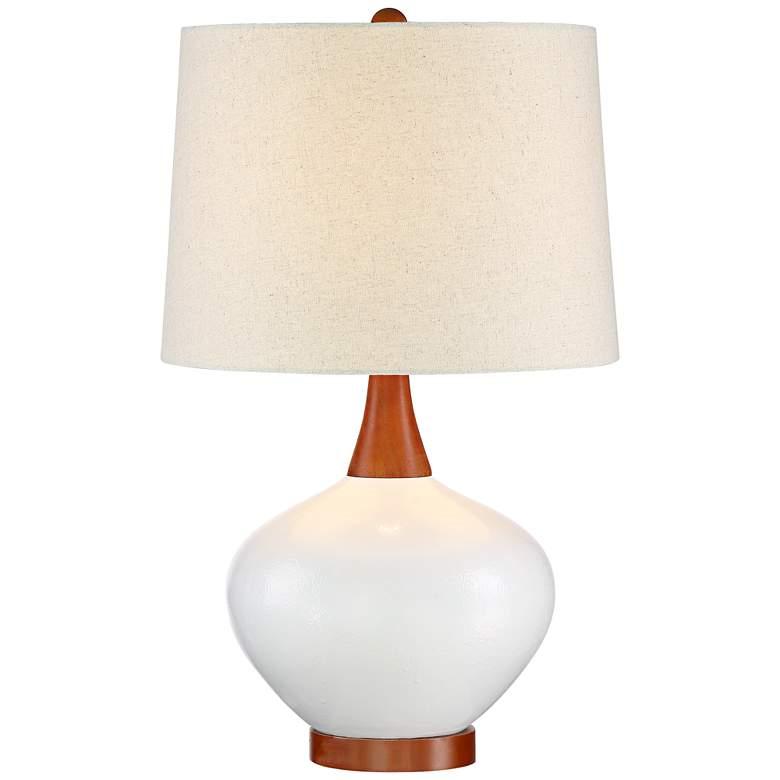 Brice Mid-Century Ivory Ceramic Table Lamp