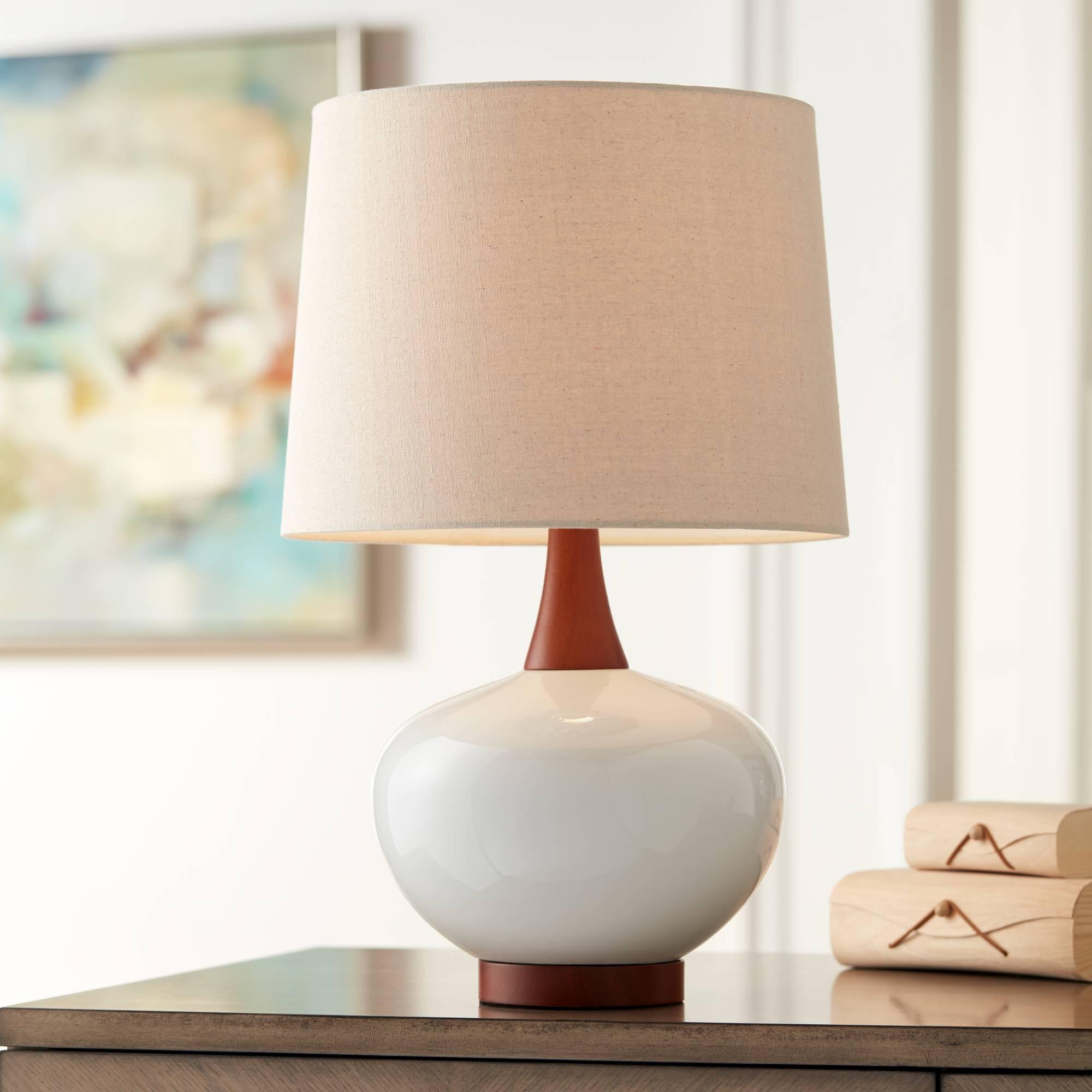 Mid Century Modern Table Lamp Ceramic Ivory For Living Room Family