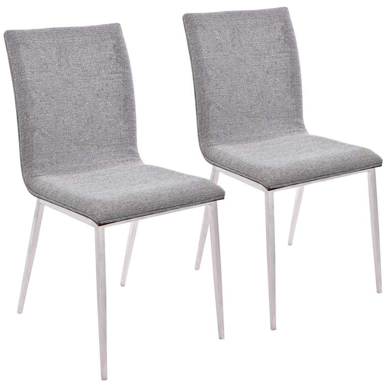 Crystal Gray Fabric Dining Chair with Walnut Back Set of 2