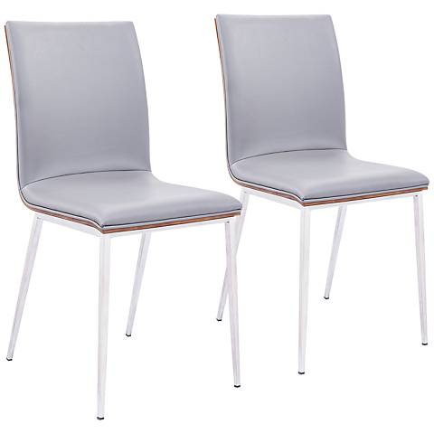 Crystal Gray Leatherette Dining Chair with Walnut Back Set of 2